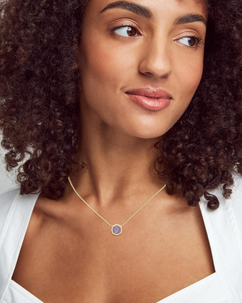 Davie Gold Pendant Necklace in Lavender Kyocera Opal