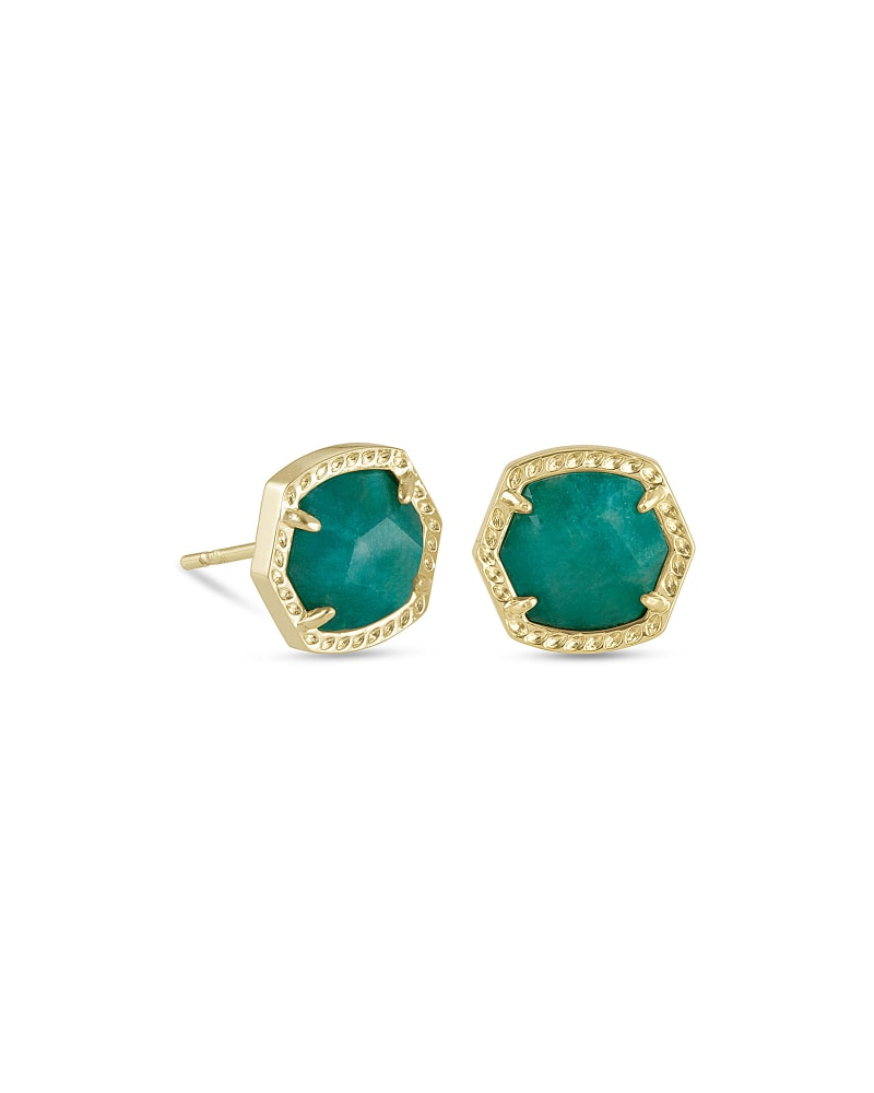 Davie Gold Stud Earrings in Dark Teal Amazonite