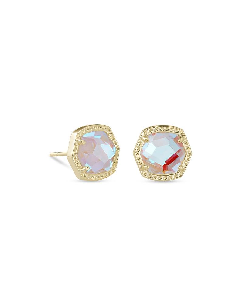 Davie Gold Stud Earrings in Dichroic Glass