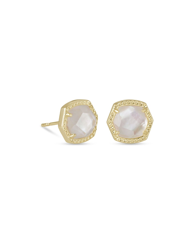 Davie Gold Stud Earrings in Ivory Mother-of-Pearl