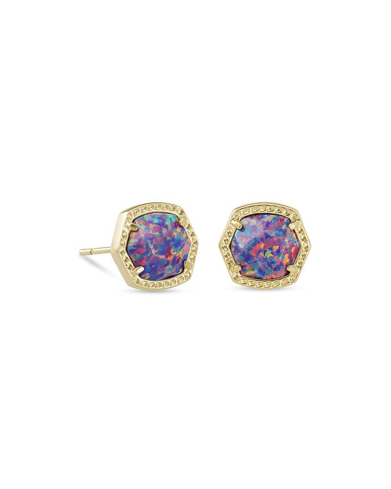 Davie Gold Stud Earrings in Lavender Kyocera Opal