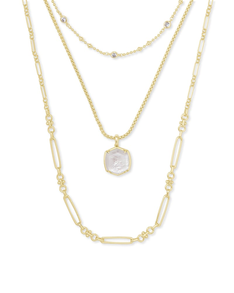 Davis Gold Triple Strand Necklace in Ivory Mother Of Pearl   Kendra Scott