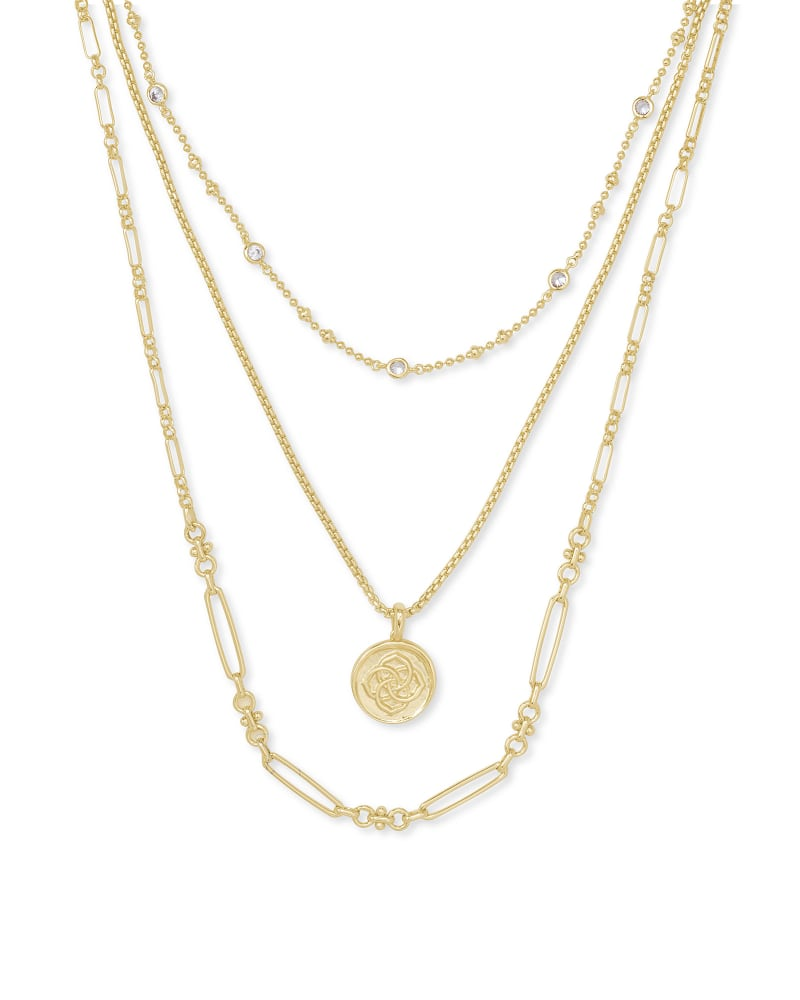 Medallion Coin Multi Strand Necklace in Gold   Kendra Scott