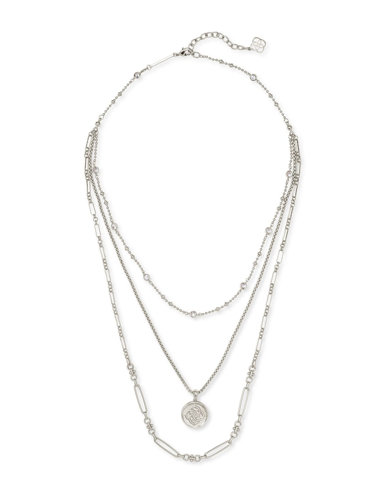 Medallion Coin Multi Strand Necklace in Silver