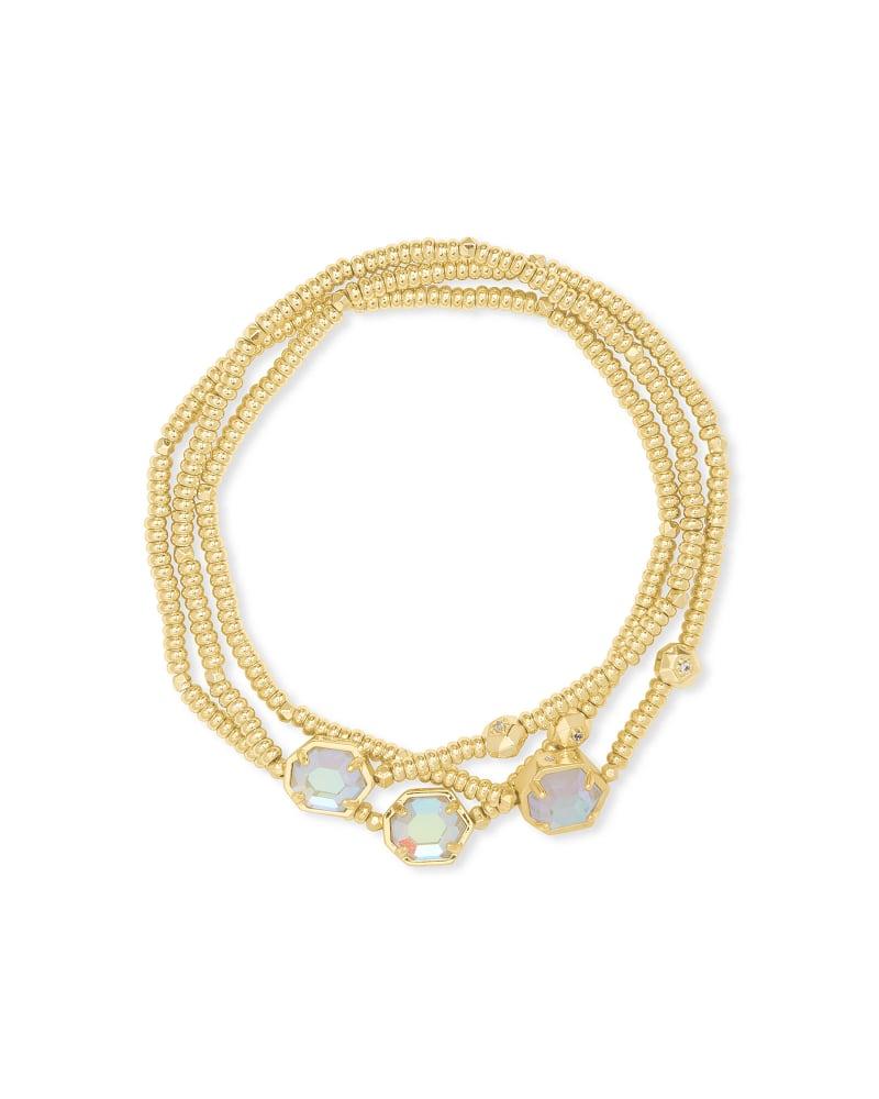 Tomon Gold Stretch Bracelet in Dichroic Glass