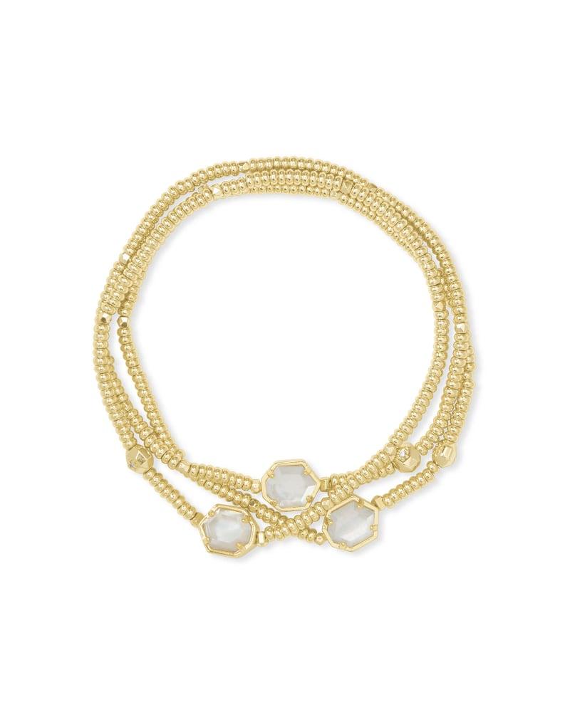 Tomon Gold Stretch Bracelet in Ivory Mother-of-Pearl   Kendra Scott