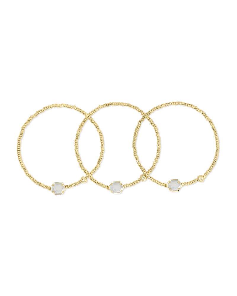 Tomon Gold Stretch Bracelet in Ivory Mother-of-Pearl