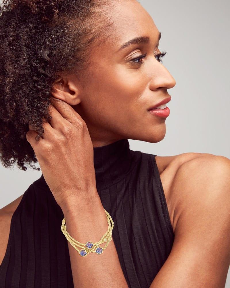 Tomon Gold Stretch Bracelet in Lavender Kyocera Opal