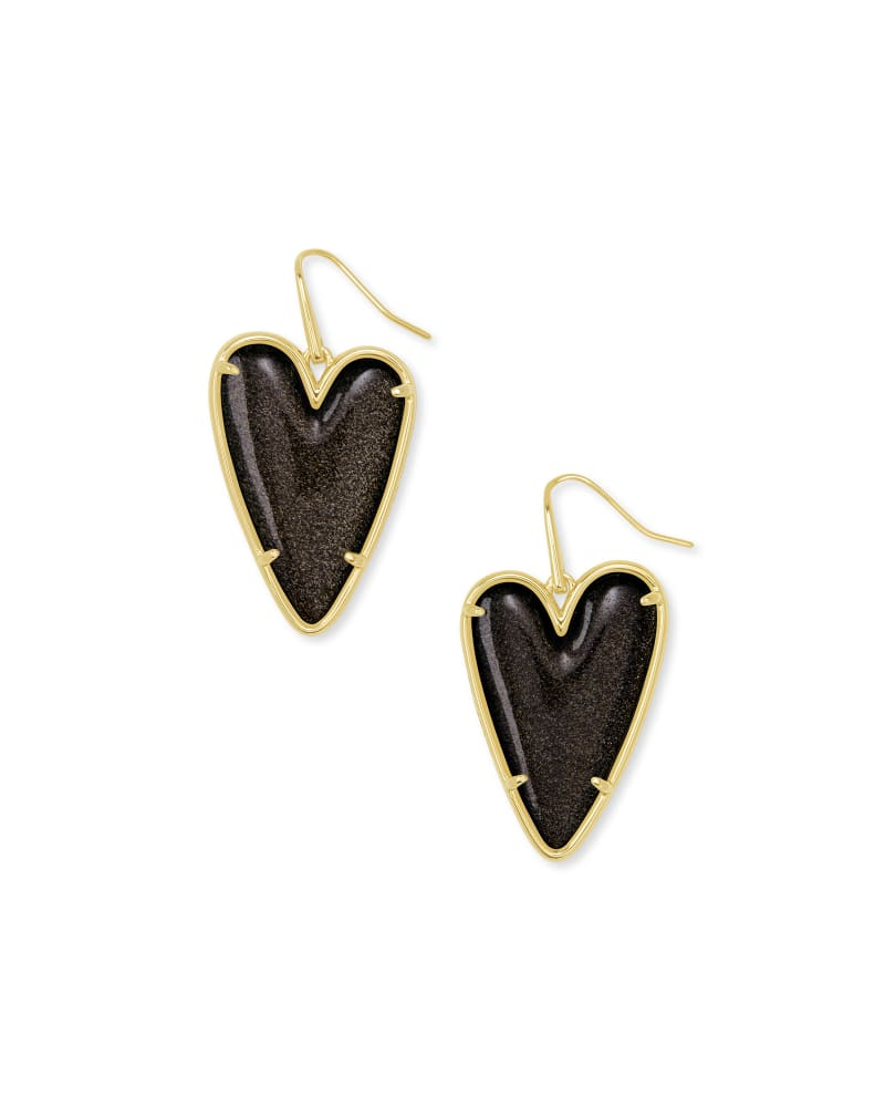 Ansley Heart Gold Drop Earrings in Golden Obsidian