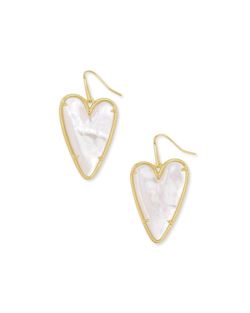 Ansley Heart Gold Drop Earrings in Ivory Mother-Of-Pearl | Kendra Scott