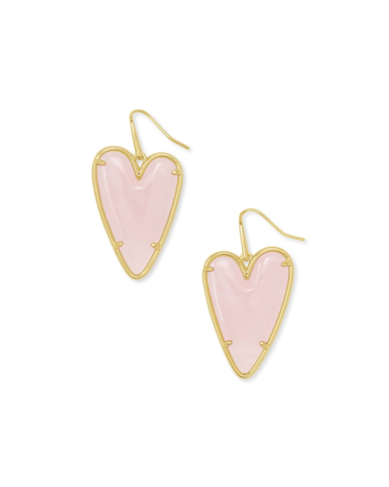 Ansley Heart Gold Drop Earrings in Rose Quartz