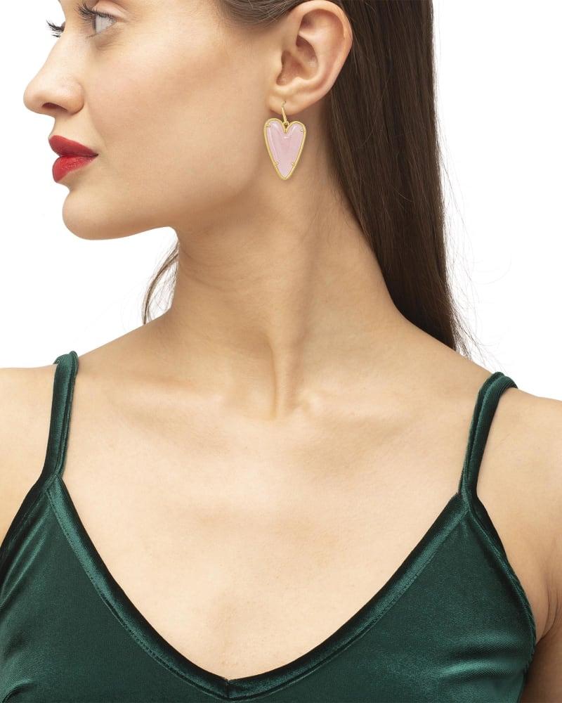 Ansley Heart Gold Drop Earrings in Rose Quartz