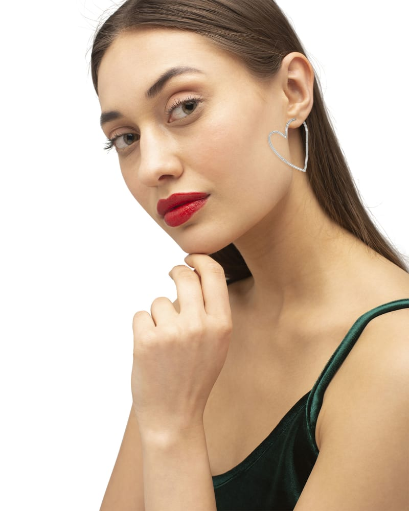 Ansley Heart Hoop Earrings in Silver