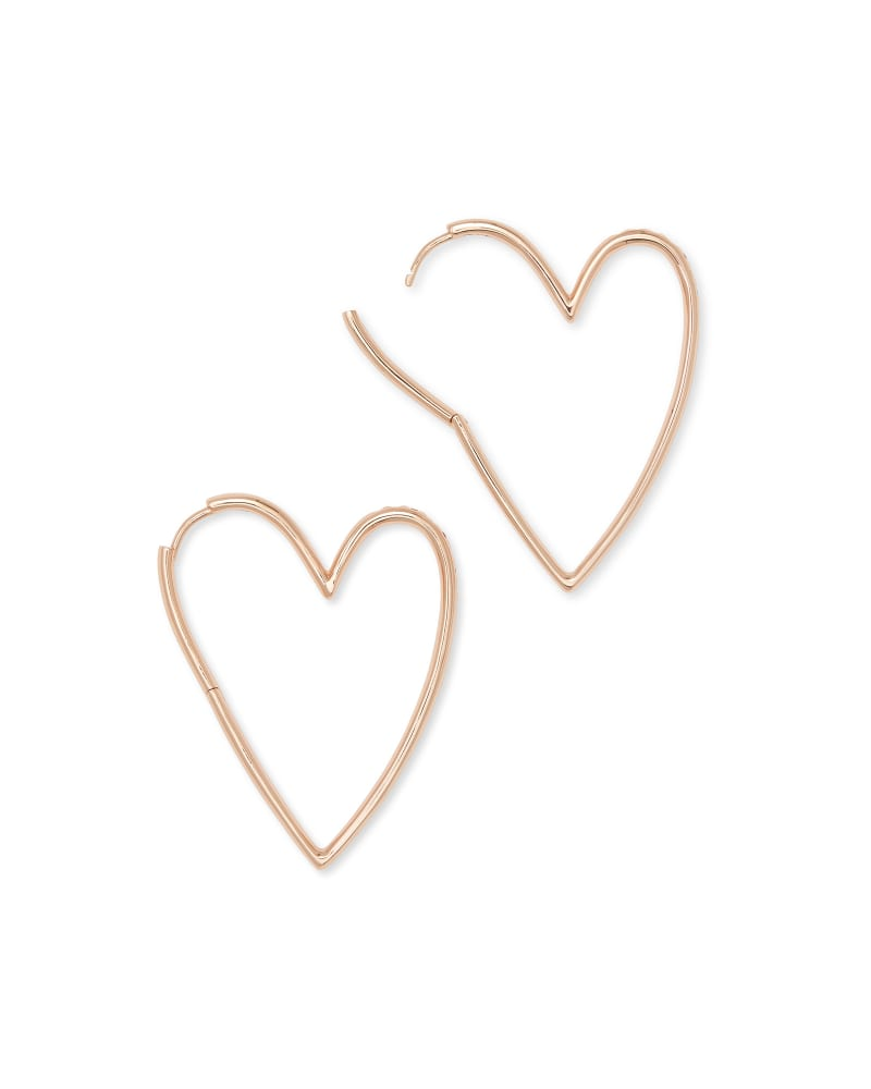 Ansley Heart Hoop Earrings in Rose Gold