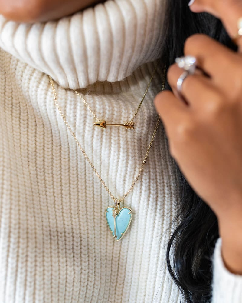 Ansley Heart Gold Long Pendant Necklace in Light Blue Magnesite