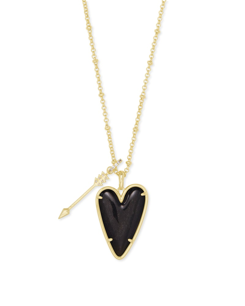 Ansley Heart Gold Long Pendant Necklace in Golden Obsidian