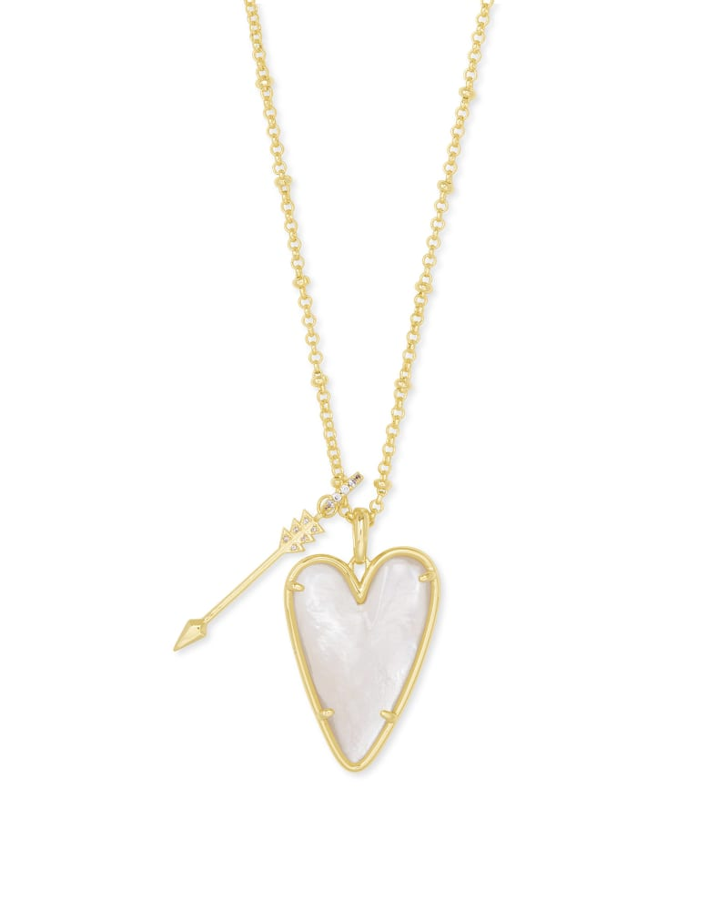 Ansley Heart Gold Long Pendant Necklace in Ivory Mother-Of-Pearl