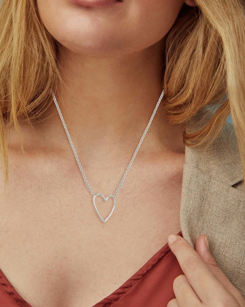 Ansley Heart Pendant Necklace in Silver