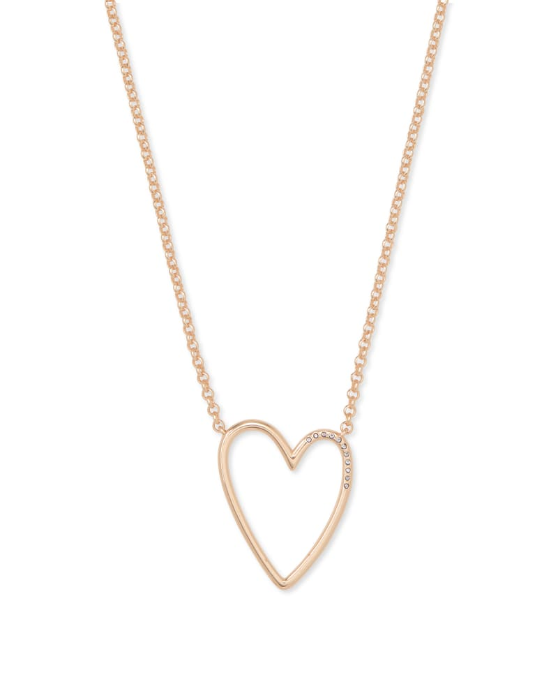 Ansley Heart Pendant Necklace in Rose Gold