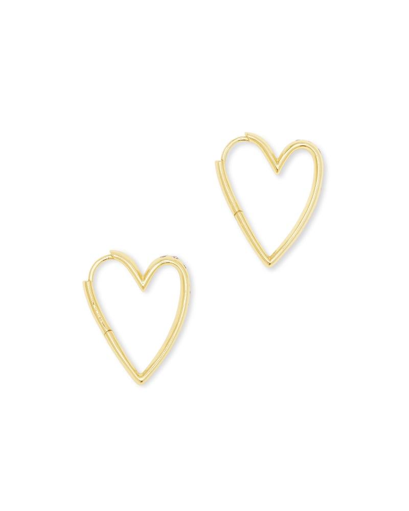 Ansley Heart Small Hoop Earrings in Gold