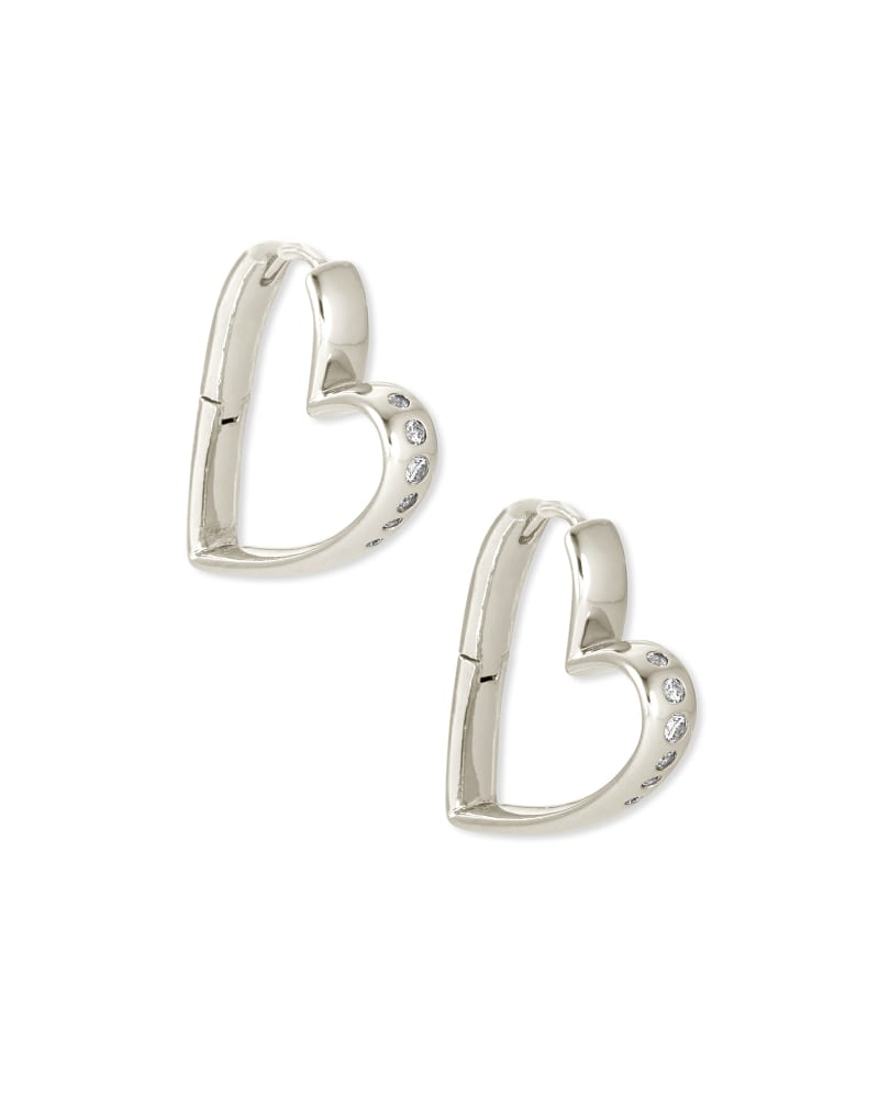 Ansley Heart Small Hoop Earrings in Silver