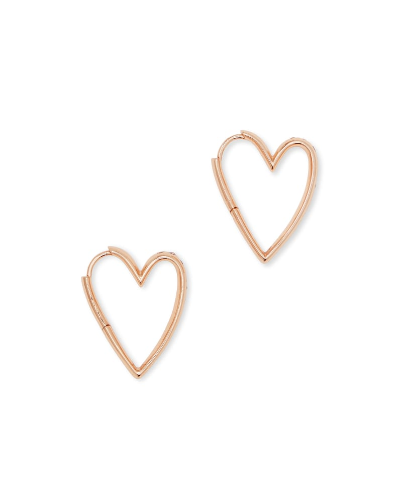 Ansley Heart Small Hoop Earrings in Rose Gold
