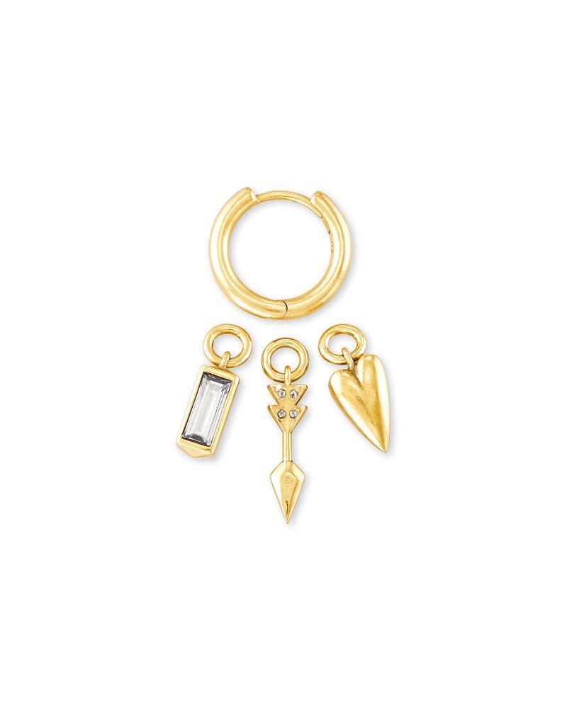 Zoey Interchangeable Huggie Earrings Set in Gold