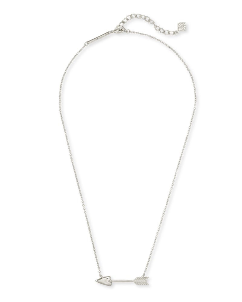 Zoey Arrow Pendant Necklace in Silver