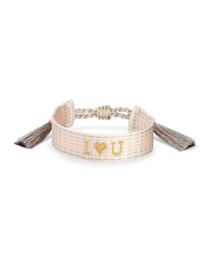 I Heart You Gold Friendship Bracelet in Neutral Pastel Mix