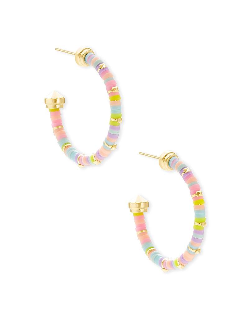 Reece Gold Small Hoop Earrings in Pink Pastel Mix   Kendra Scott