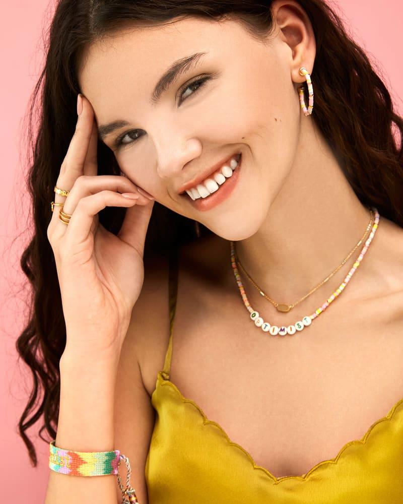 Reece Gold Small Hoop Earrings in Pink Pastel Mix