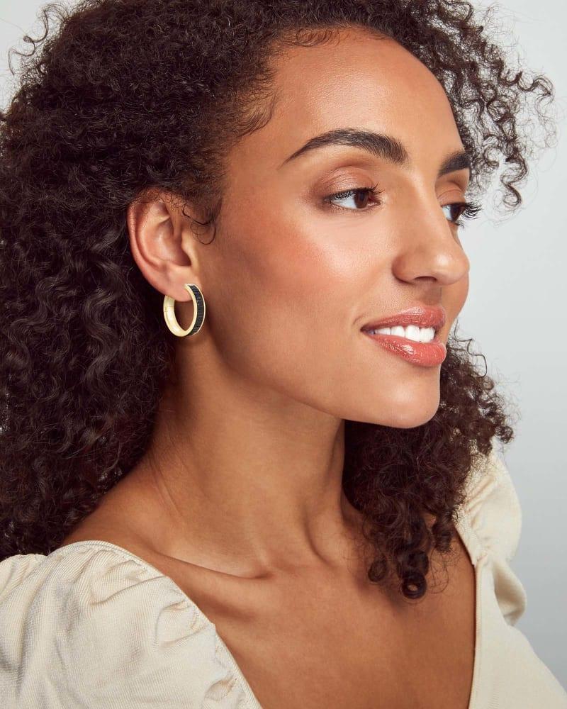 Jack Gold Hoop Earrings in Black Spinel