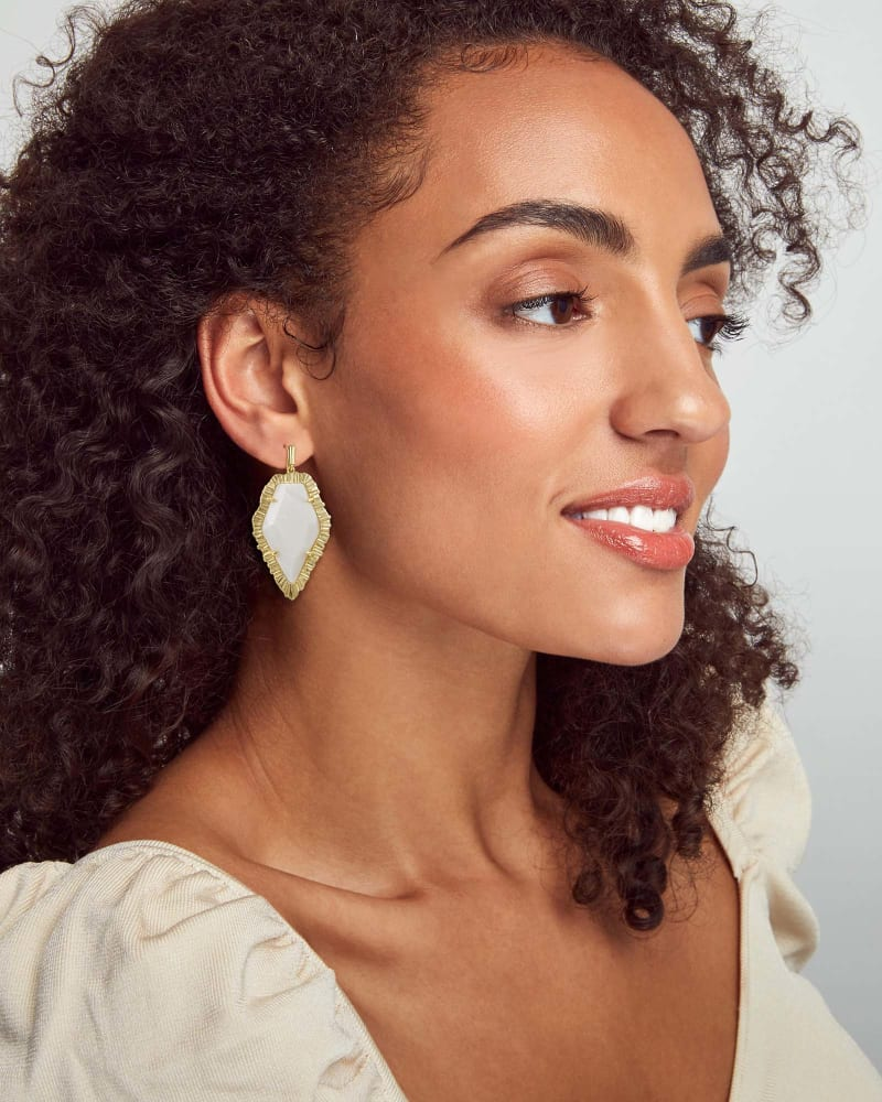 Tessa Gold Drop Earrings in White Mussel