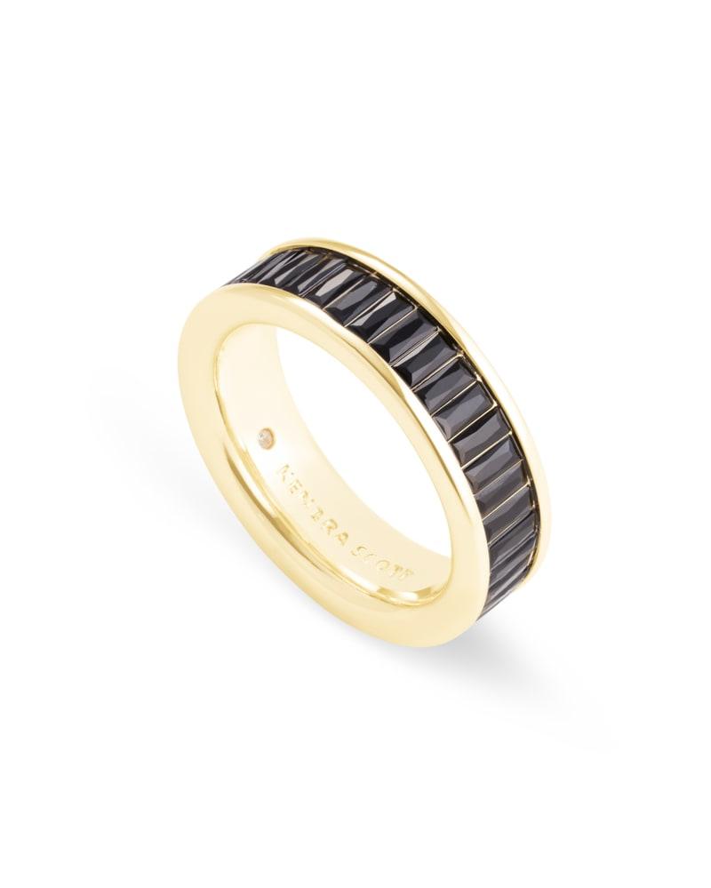 Jack Gold Band Ring in Black Spinel