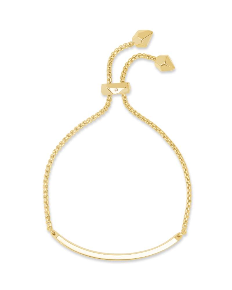 Jack Adjustable Gold Chain Bracelet in Black Spinel