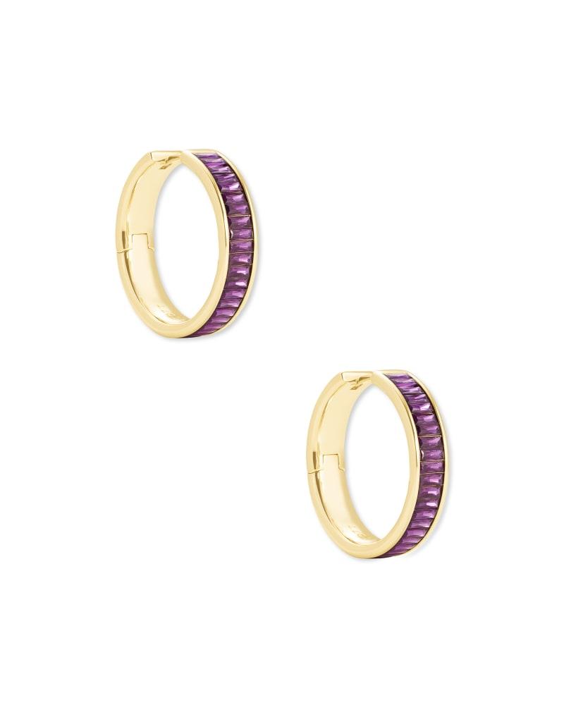 Jack Gold Hoop Earrings in Purple Crystal