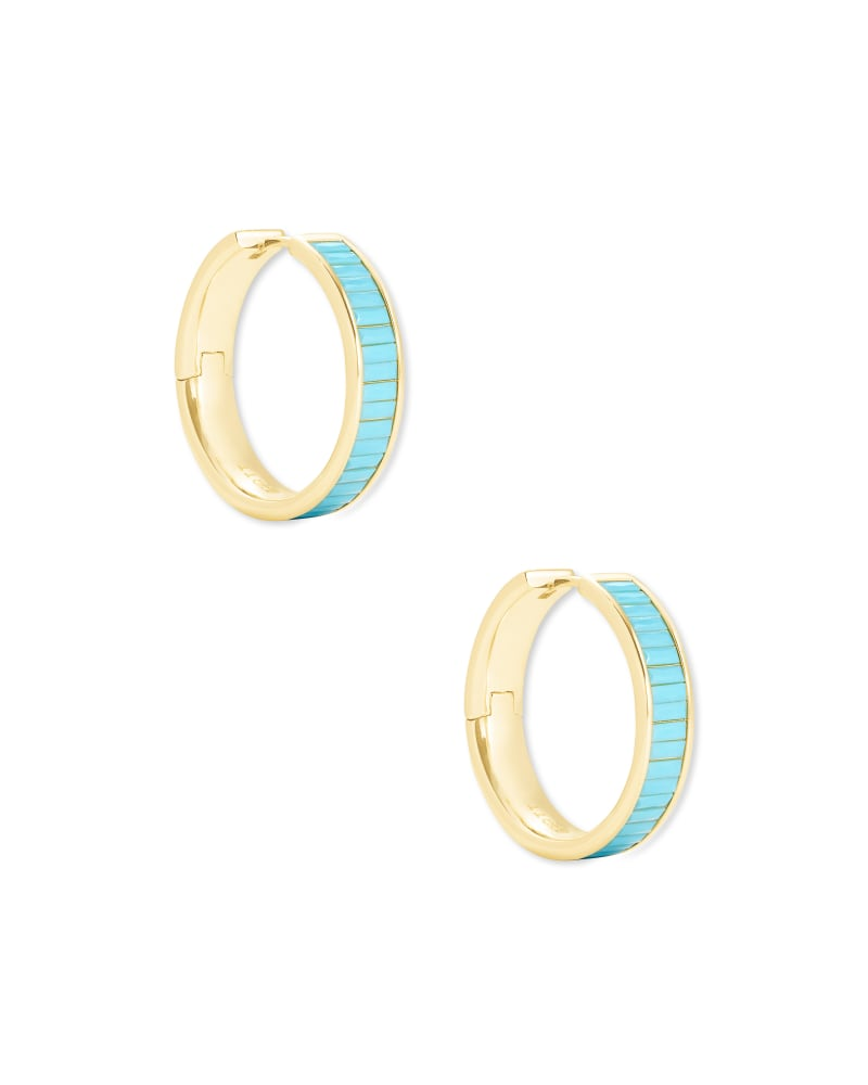 Jack Gold Hoop Earrings in Turquoise Crystal