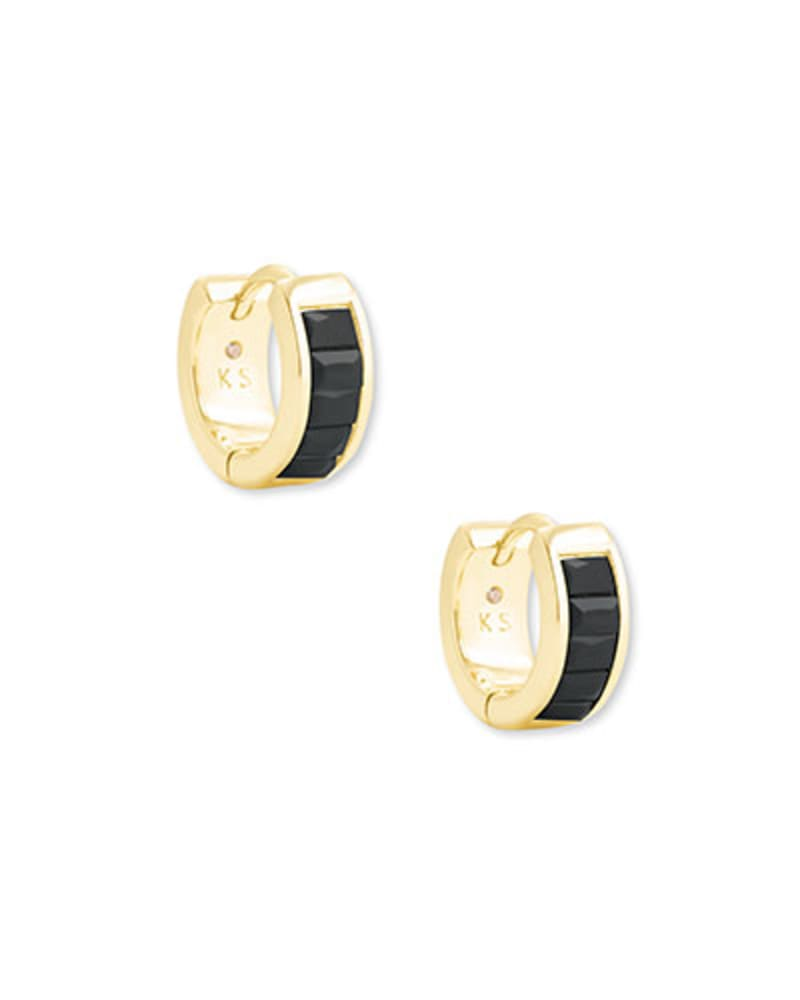 Jack Gold Huggie Earrings in Black Spinel