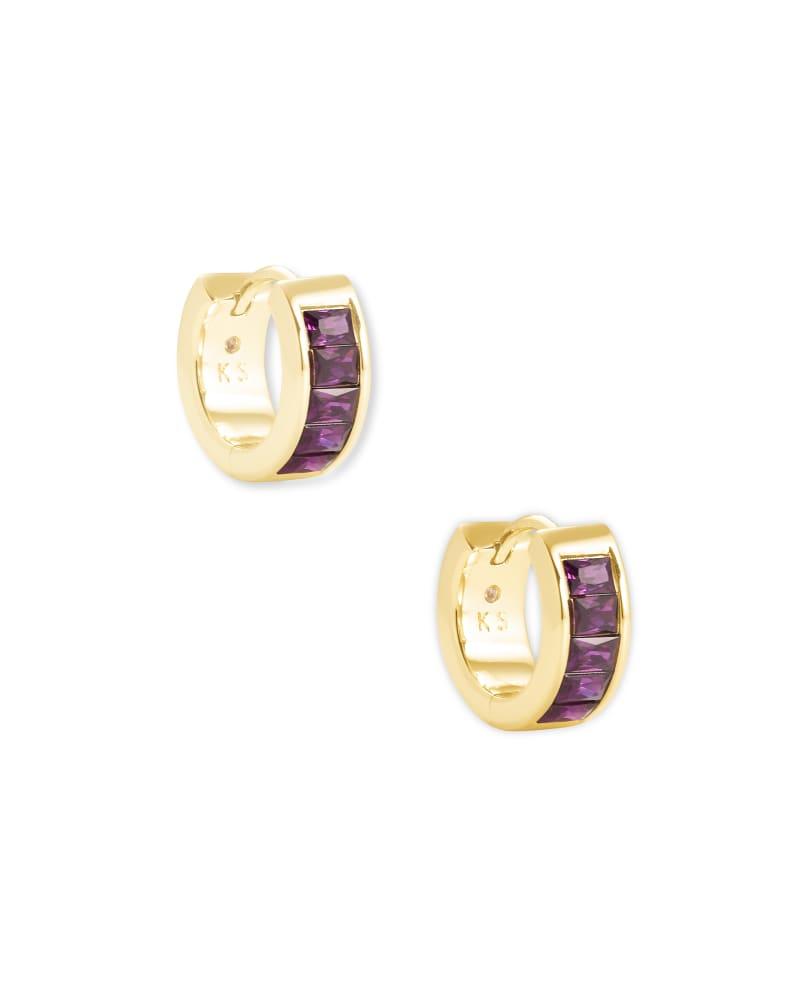Jack Gold Huggie Earrings in Purple Crystal