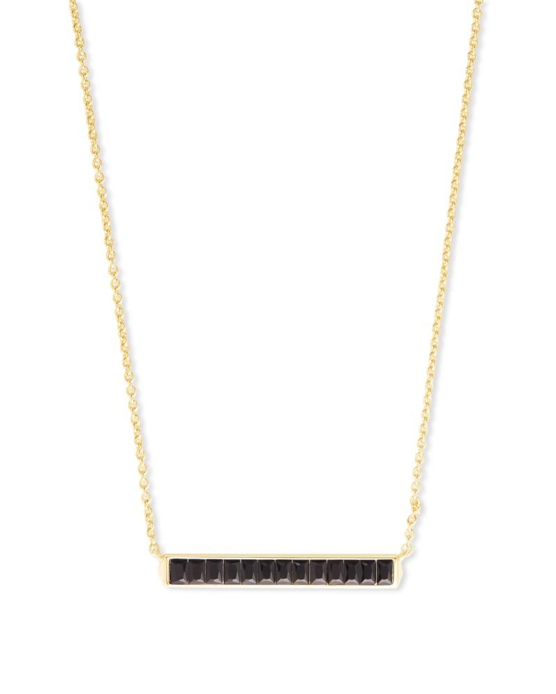 Jack Gold Short Pendant Necklace in Black Spinel