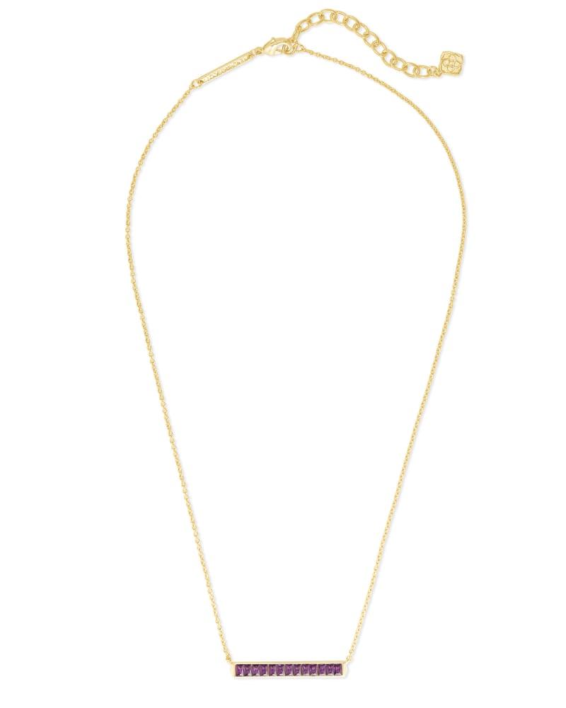 Jack Gold Short Pendant Necklace in Purple Crystal