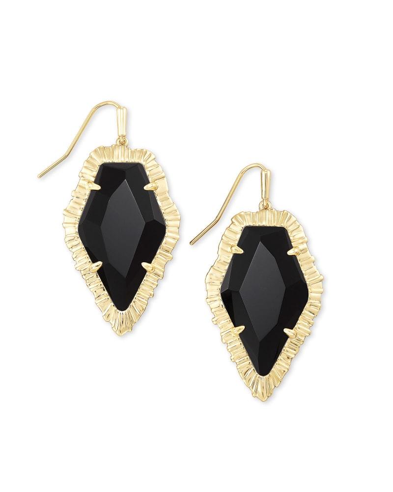 Tessa Gold Drop Earrings in Black Obsidian