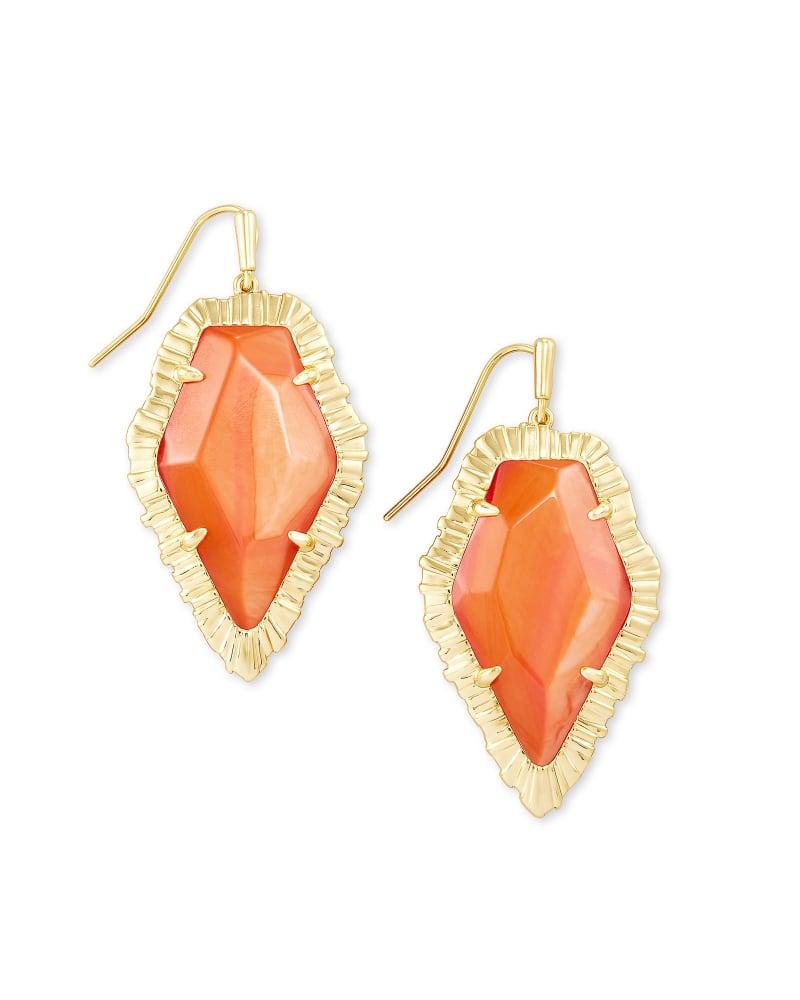 Tessa Gold Drop Earrings in Papaya Mother of Pearl