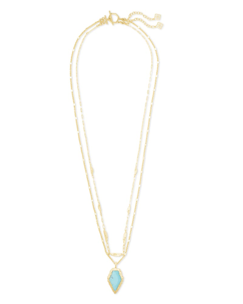 Tessa Gold Multi Strand Necklace in Light Blue Magnesite