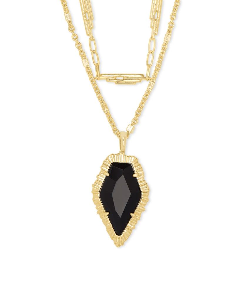Tessa Gold Multi Strand Necklace in Black Obsidian