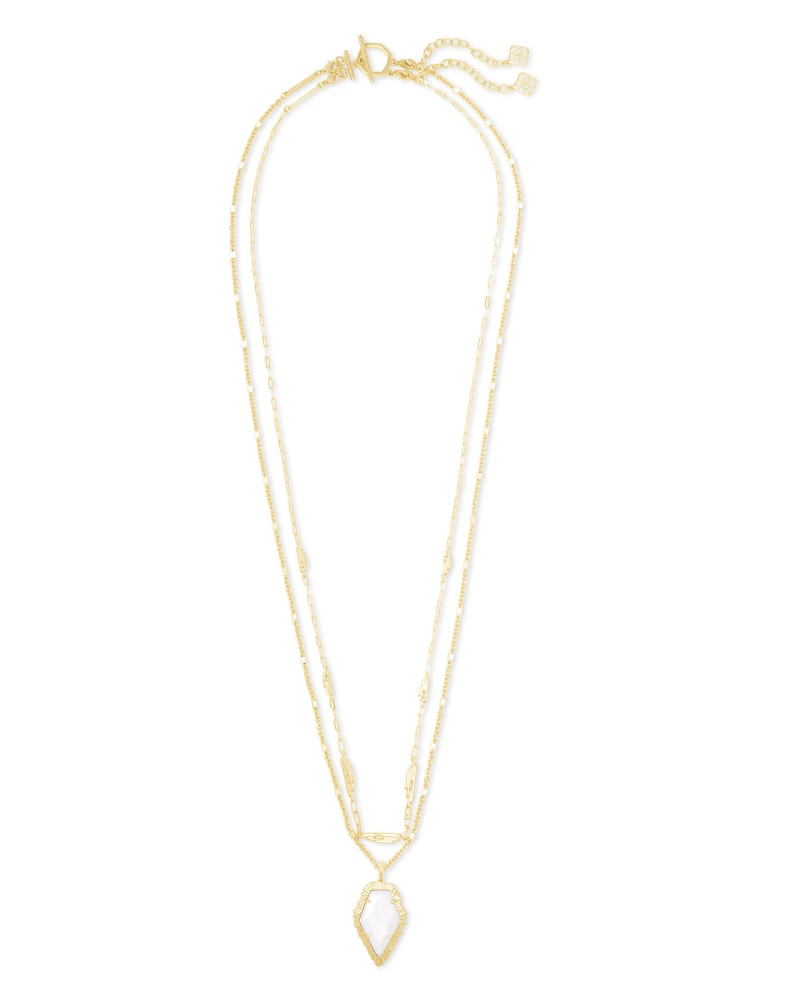 Tessa Gold Multi Strand Necklace in White Mussel