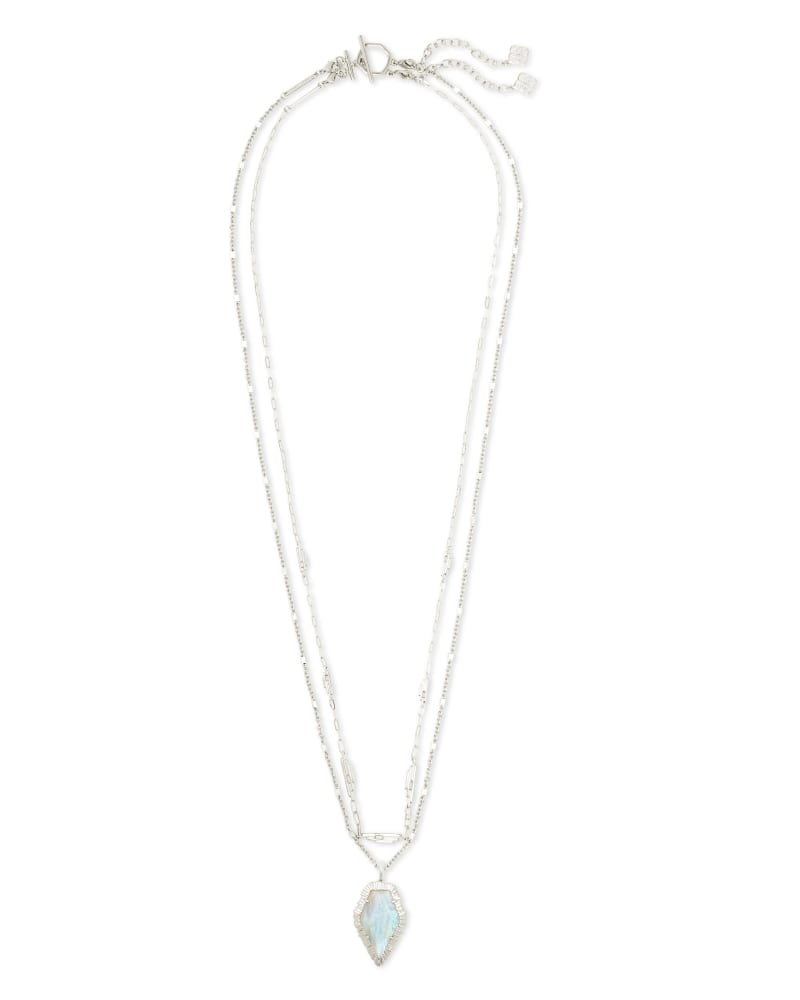 Tessa Silver Multi Strand Necklace in Iridescent Abalone