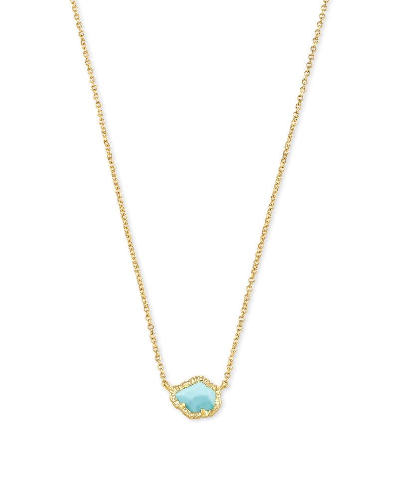 Tessa Gold Small Pendant Necklace In Light Blue Magnesite   Kendra Scott