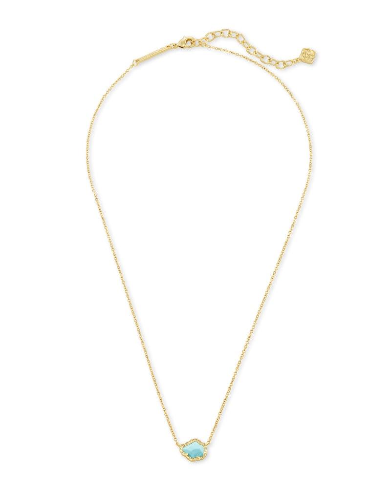 Tessa Gold Small Pendant Necklace In Light Blue Magnesite