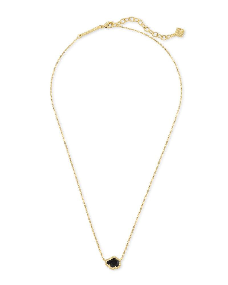 Tessa Gold Small Pendant Necklace In Black Obsidian
